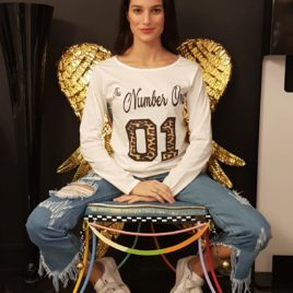 "T-SHIRT Donna manica lunga "" NUMBER ONE"""